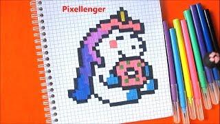 Как рисовать по клеточкам Единорога с Пончиком в тетради How to Draw Unicorn by cells Pixel Art