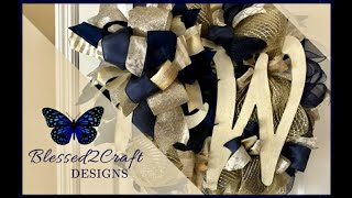 Navy Blue Cream and Gold wreath with Accent Letter
