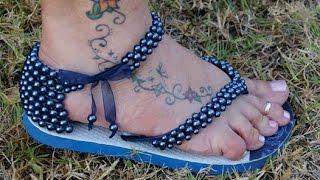 Como fazer sandália de perola em chinelo customizado - Maguida Silva