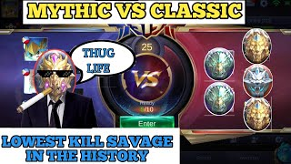 MYTHICAL GLORY IN CLASSIC | LOWEST KILL SAVAGE IN THE HISTORY | MOBILE LEGENDS
