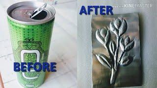 DIY Make Beautiful Aluminum Embossing Out Of Old Tin   Best Out Of Waste Art  Aluminum Embossing