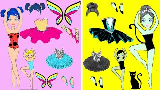 Ballerina Paper Dolls Ladybug Dress Up Costumes Dresses Quiet Book Handmade Papercrafts