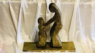 Mother & Child Sculpture/ No Clay Sculpture/ Best Out Of Clay/ Abstract Sculpture