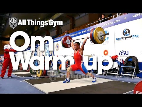 Om Yun Chol 155kg Clean & Jerk 2014 Almaty World Championships Warm up Area
