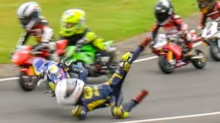 23.4m views of Amazing crash Compilation: Kids on minibikes and karts in British Championships!