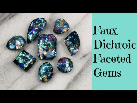 Creating Faux Dichroic Glass Gemstones Cabochons For Jewelry Making DIY UV Resin Tutorial