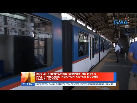 [GMA]  UB: Bus augmentation service ng MRT 3, mas pinilahan ngayon kaysa noong isang linggo