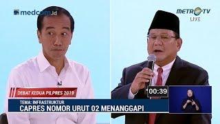 Debat Kedua Capres Part 2, Serangan Balik Jokowi ke Prabowo Soal Infrastruktur