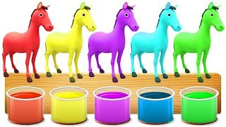 Learn Colors With horse painting for Children Learn Colours with Animals for Kids