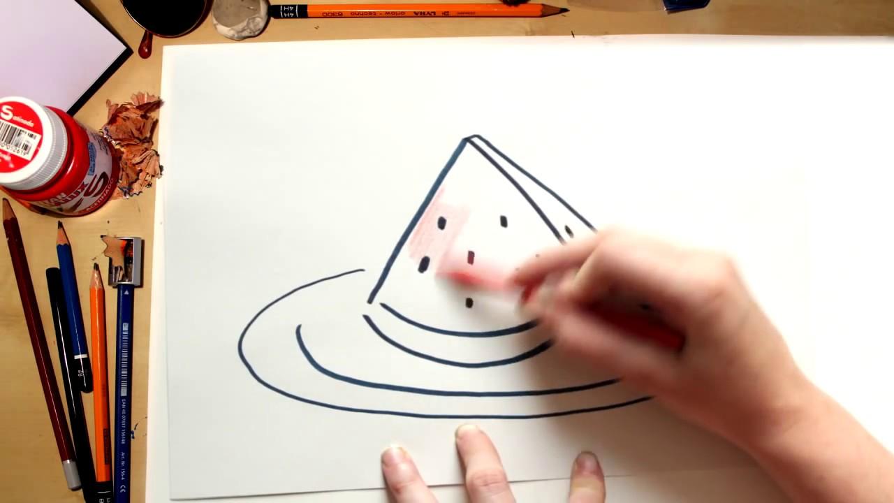 Como desenhar uma Melancia - desenhos de frutas para crianças