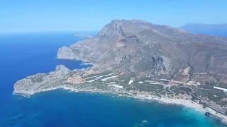 Flying over the Falassarna beach, Crete