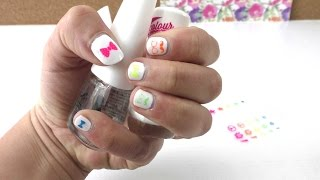 Nagelsticker Nail Art Neon - Essence - Hipster Schnurrbart & Schleife - Rainbow