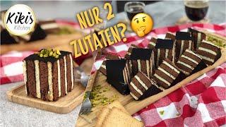 Schneller Kuchen aus nur 2 Zutaten - Das geht wirklich! Pudding-Kekskuchen mit Streifen