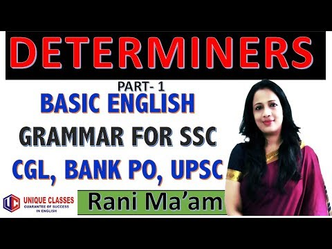 Determiners In English Grammar | For Bank PO, IBPS PO, SSC CGL, UPSC, CDS, NDA | in Hindi | Part-1