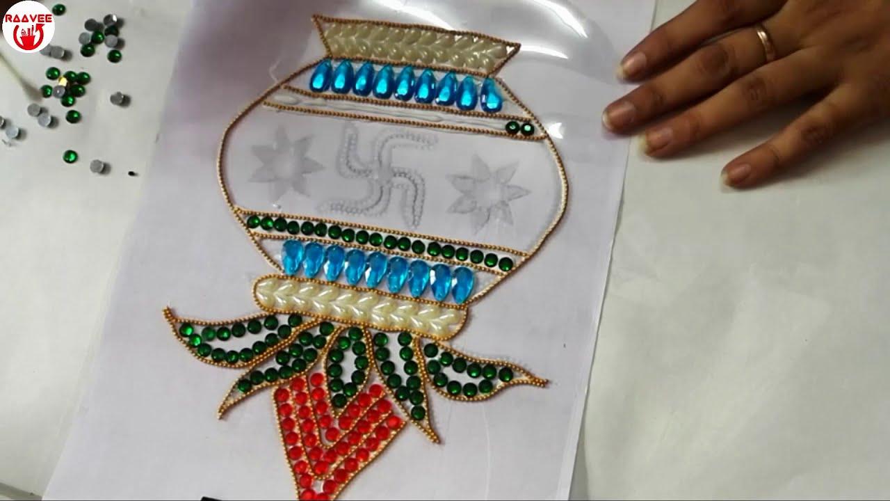 diwali kalash acrylic kundan rangoli design by raavee creations