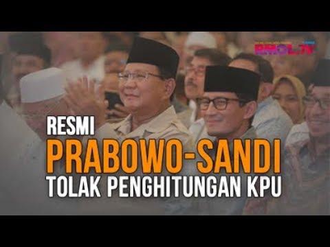 Resmi, Prabowo-Sandi Tolak Penghitungan KPU