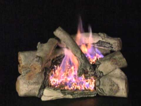 Rasmussen Chillbuster Gas Log Set With Vent-Free C8 Evening Embers Triple Burner