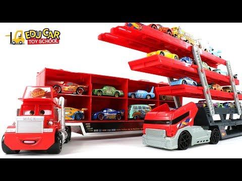 Learning Color Special Disney Pixar Cars Lightning McQueen Mack Truck car carrier for kids car toys