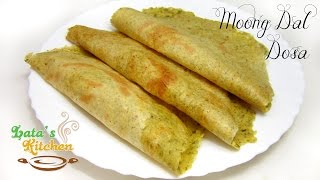 Moong Dal Dosa Recipe - Indian Vegetarian Recipe Video In Hindi - Latas Kitchen