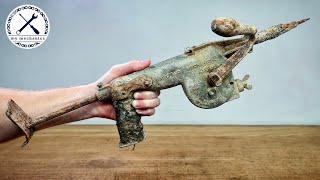Zabytkowa ręczna wiertarka udarowa z łbem stożkowym – renowacja