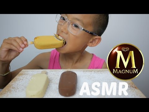 Magnum ICE Cream Bars | ASMR No Talking Eating Sounds | N.E Let's Eat