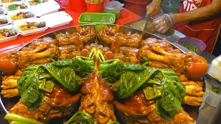 Street Food and Wet Market in Phuket Thailand. Best Stalls of Banzaan Market in Patong City