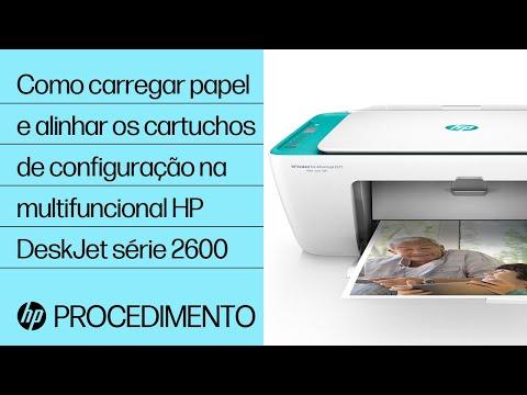 Como carregar papel e alinhar os cartuchos de configuração na multifuncional HP DeskJet série 2600