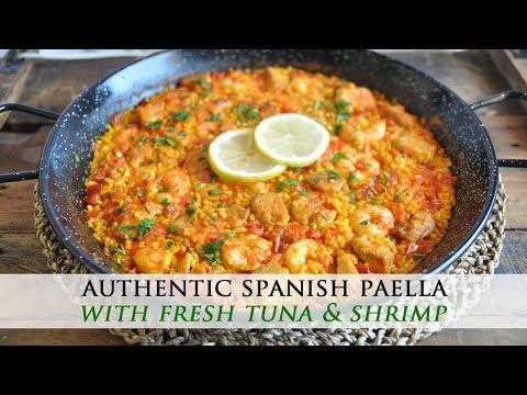 How to Make a Spanish Paella with Tuna & Shrimp