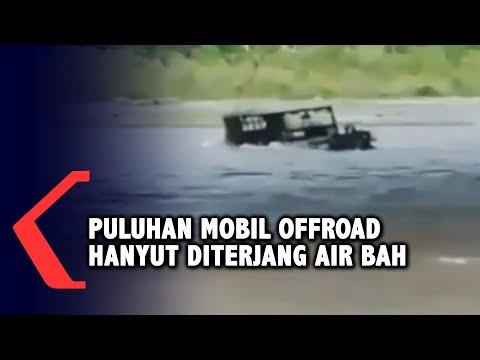 puhuhan kendaraan offroad hanyut terseret air bah di sepadan sungai unda klungkung