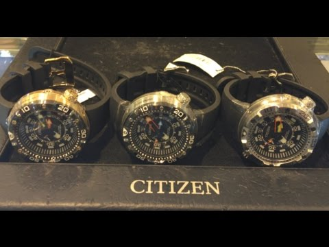 CITIZEN AQUALAND DEPTH METER ALL THREE Versions ON THE WRIST!