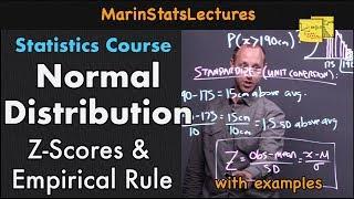 Normal Distribution,  Z-Scores & Empirical Rule   Statistics Tutorial #3   MarinStatsLectures