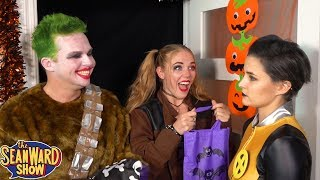 SUPERHERO HALLOWEEN! Trick or Treat with Batman, Joker, Spider-Man - TheSeanWardShow