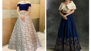 Designer Crop Tops With Long Skirt | Beautiful Off Shoulder Outfit  Collection