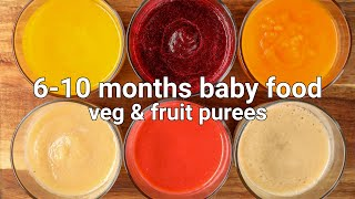 6-10 months baby food - vegetable puree & fruit puree | stage 1 homemade baby food - hebbars
