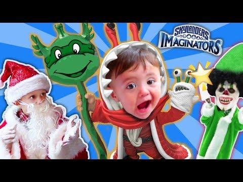 SANTA SURPRISES KID W/ SKYLANDERS IMAGINATORS TOY! JINGLE BELL CHOMPY MAGE!  (+ FGTEEV Michelangelo)