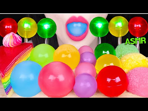 ASMR LIGHT JELLY, NIK-L-NIP WAX BALL, RAINBOW CREPE CAKE 불빛 젤리, 닉클립 왁스볼, 크레이프 케이크 먹방 EATING SOUNDS