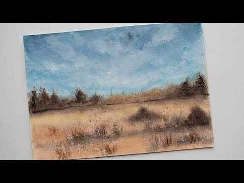 Watercolor LANDSCAPE painting for beginners - paint a sky, trees, bushes easy