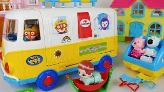 Pororo Camping bus car toys and Baby doll play - ToyMong TV 토이몽