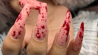 My Client Left Her Appt Bleeding 💉 Easy Blood Splatter Halloween Nails