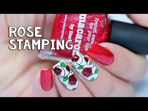 ROSE STAMPING NAIL ART   New Picture Polish Macaron