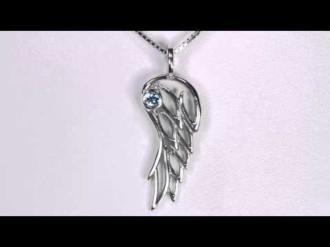 Angel Wing Pendant Sterling Silver with Blue Zircon