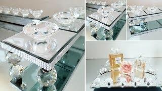2 DIY DECOR IDEAS | GLAM TEA LIGHT CANDLE HOLDER | GLAM ROTATING VANITY TRAY | HIGH -END DIY 2019
