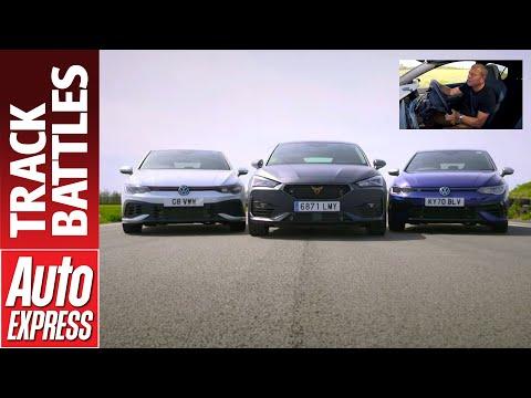 VW Golf R vs Golf GTI Clubsport vs Cupra Leon 300 | Steve Sutcliffe Track Battle