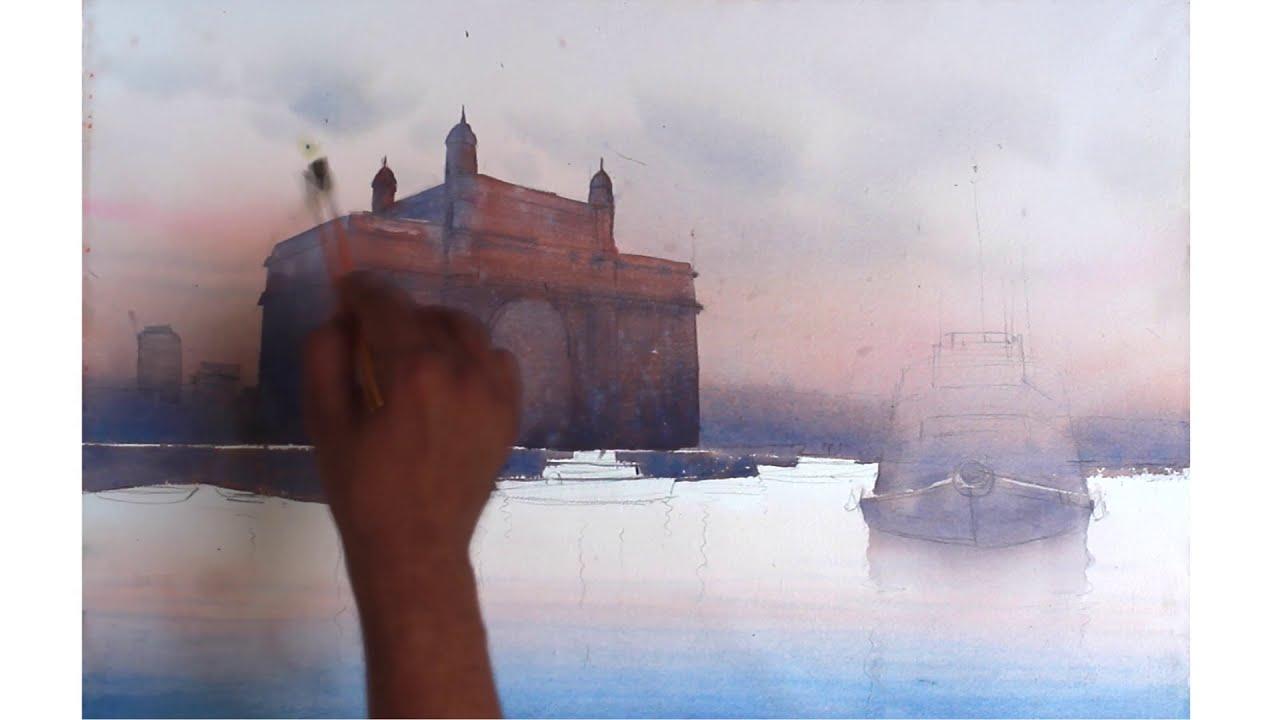 watercolor painting gateway of india mumbai by ganesh hire