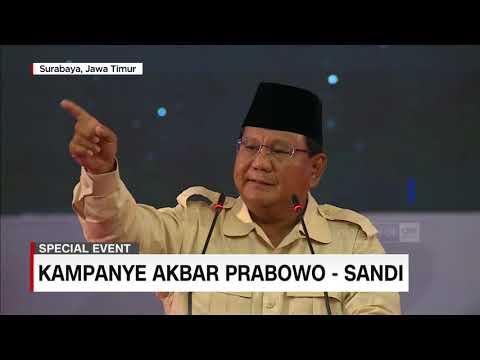 Full - Pidato Kebangsaan Prabowo di Kampanye Akbar Surabaya