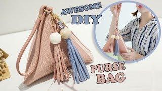 CUTE DIY TRIANGULAR PURSE BAG TUTORIAL // PU Lather Cute Pouch Zipper Bag