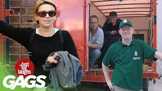 Смотреть онлайн Пранк: Злой лев в грузовике