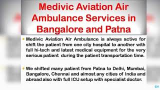 Get Top-Class Medical Care by Medivic Air Ambulance Services in Bangalore