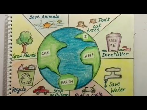 Save Earth Poster tutorial || Save earth, save environment drawing