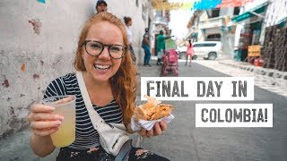 Colombian STREET FOOD In Cartagena! + LONG Flight To Canada W/ Food Poisoning 🤢